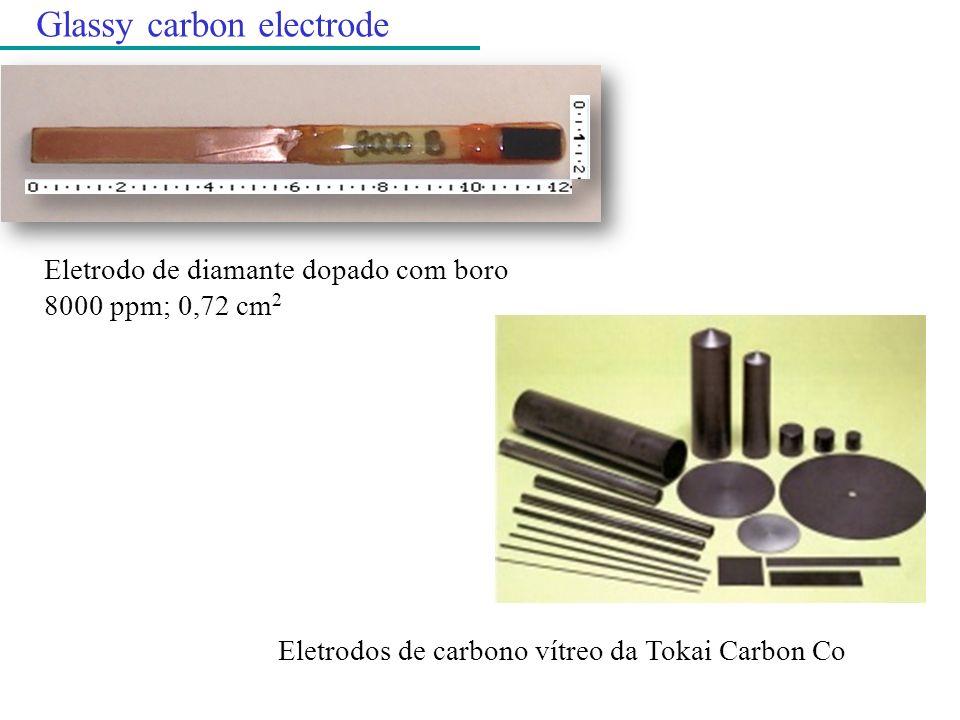 Eletrodo de diamante dopado com boro 8000 ppm; 0,72 cm 2 Glassy carbon electrode Eletrodos de carbono vítreo da Tokai Carbon Co