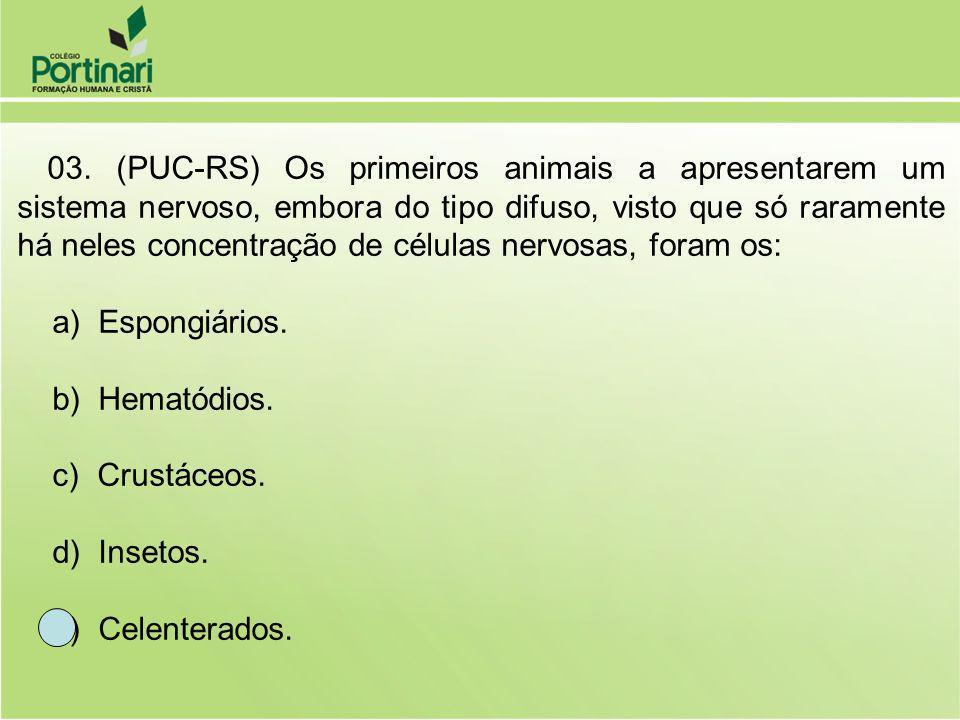 03. (PUC-RS) Os primeiros animais a apresentarem um sistema nervoso, embora do tipo difuso, visto que só raramente há neles concentração de células ne
