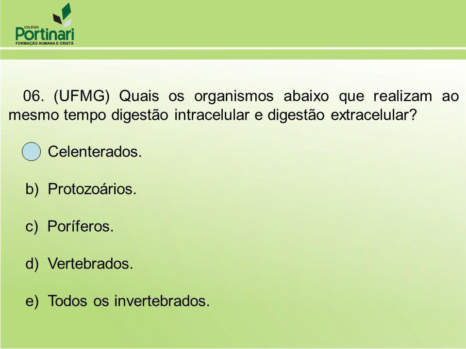 06. (UFMG) Quais os organismos abaixo que realizam ao mesmo tempo digestão intracelular e digestão extracelular? a) Celenterados. b) Protozoários. c)