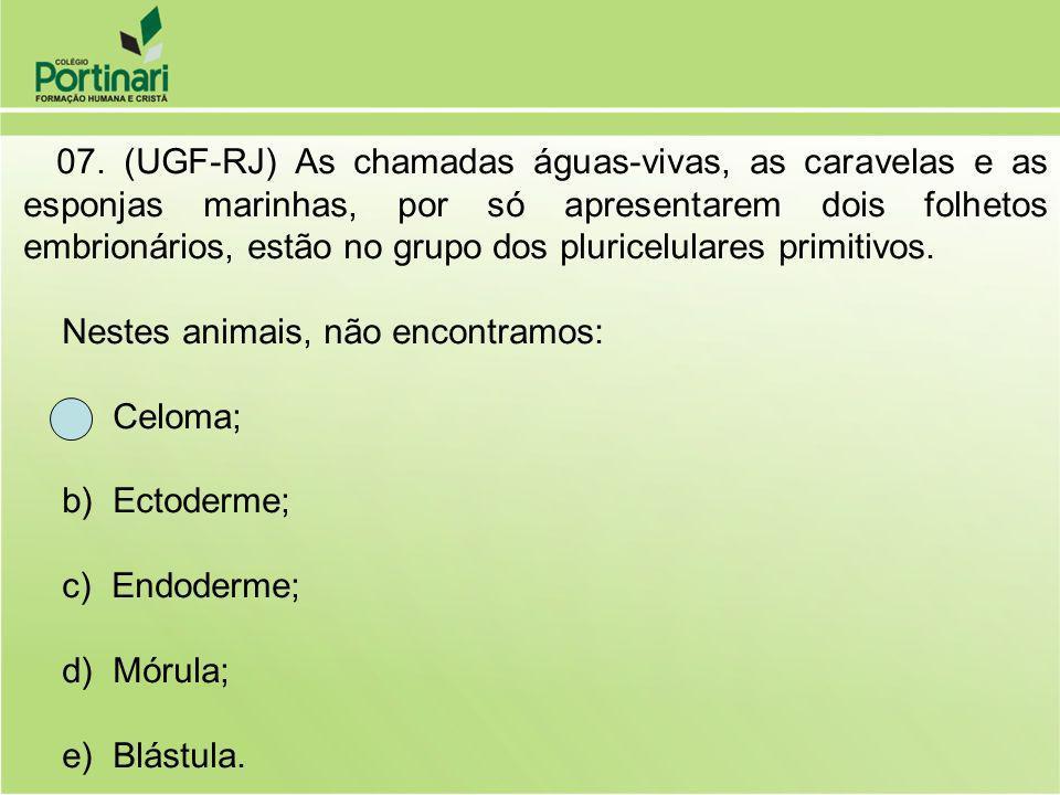 07. (UGF-RJ) As chamadas águas-vivas, as caravelas e as esponjas marinhas, por só apresentarem dois folhetos embrionários, estão no grupo dos pluricel