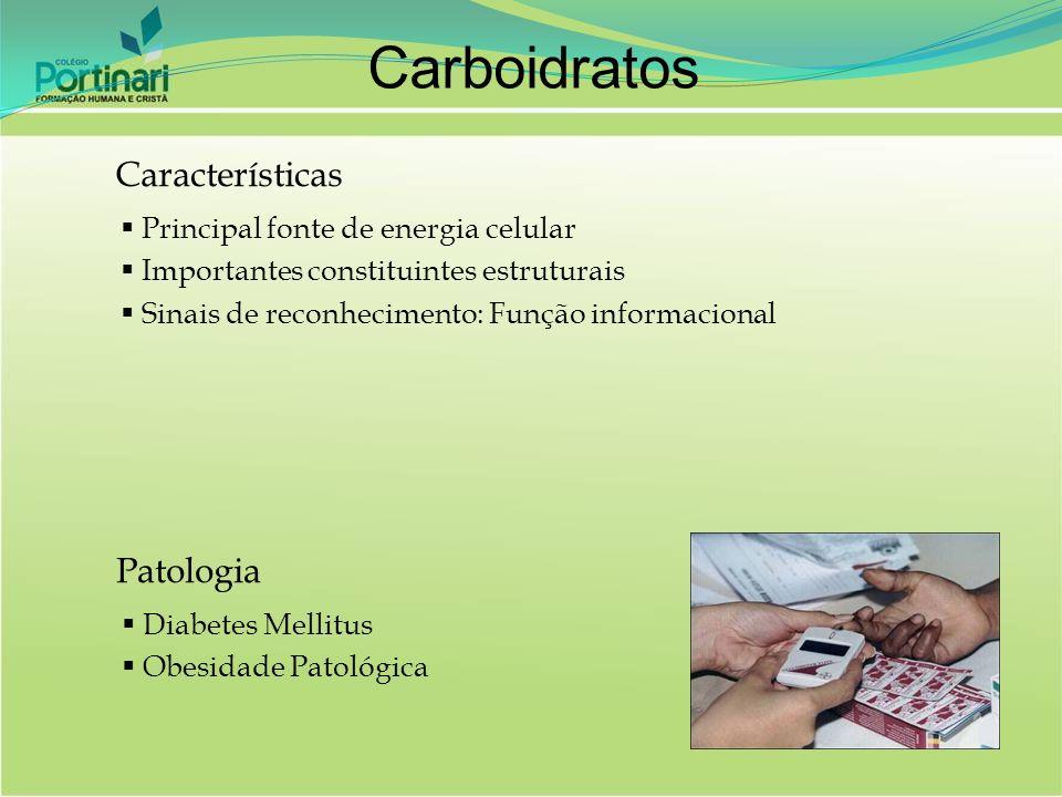 Características Principal fonte de energia celular Importantes constituintes estruturais Sinais de reconhecimento: Função informacional Patologia Diab