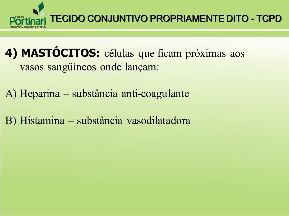 4) MASTÓCITOS: células que ficam próximas aos vasos sangüíneos onde lançam: A)Heparina – substância anti-coagulante B)Histamina – substância vasodilatadora TECIDO CONJUNTIVO PROPRIAMENTE DITO - TCPD