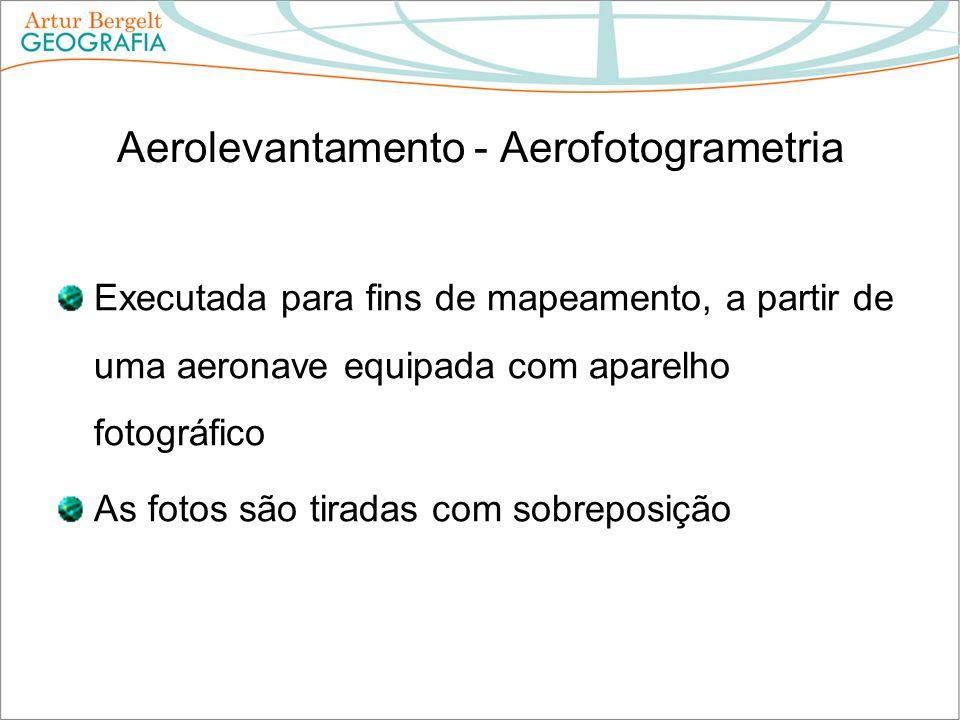 Aerolevantamento - Aerofotogrametria Executada para fins de mapeamento, a partir de uma aeronave equipada com aparelho fotográfico As fotos são tirada