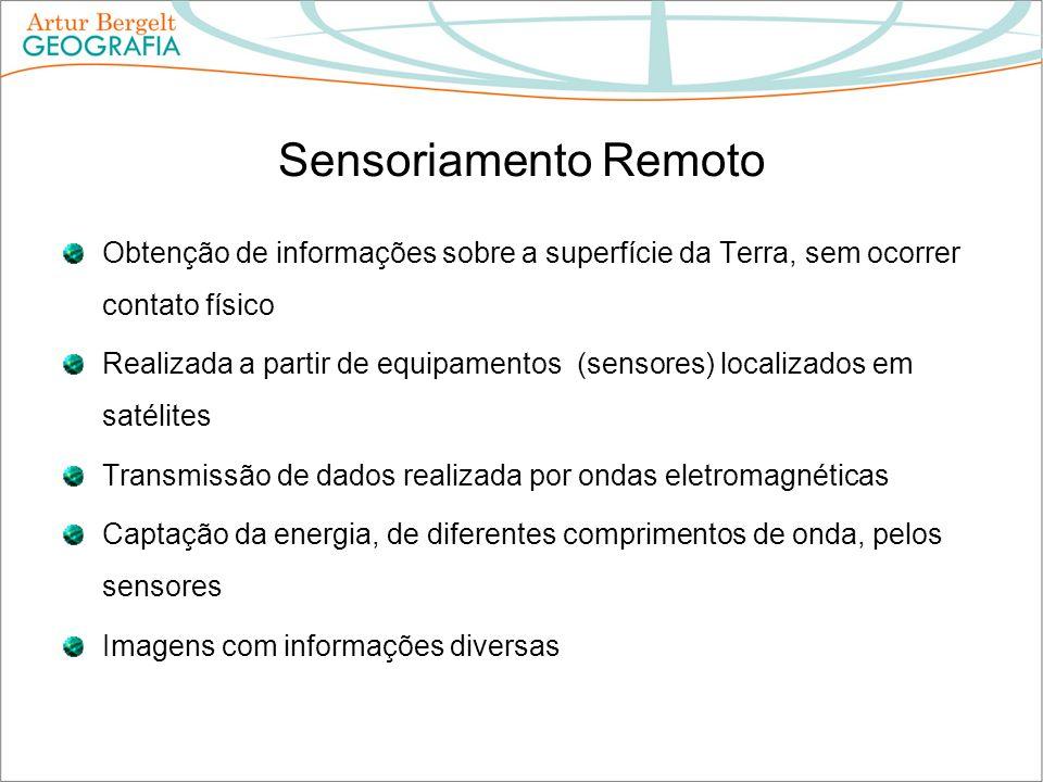 Sensoriamento Remoto Obtenção de informações sobre a superfície da Terra, sem ocorrer contato físico Realizada a partir de equipamentos (sensores) loc