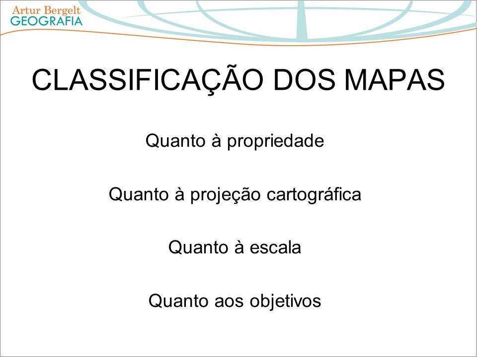 CLASSIFICAÇÃO DOS MAPAS Quanto à propriedade Quanto à projeção cartográfica Quanto à escala Quanto aos objetivos
