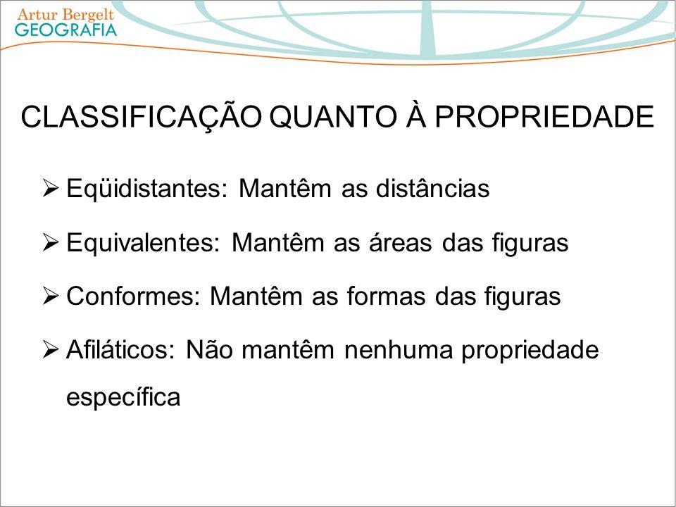 CLASSIFICAÇÃO QUANTO À PROPRIEDADE Eqüidistantes: Mantêm as distâncias Equivalentes: Mantêm as áreas das figuras Conformes: Mantêm as formas das figur