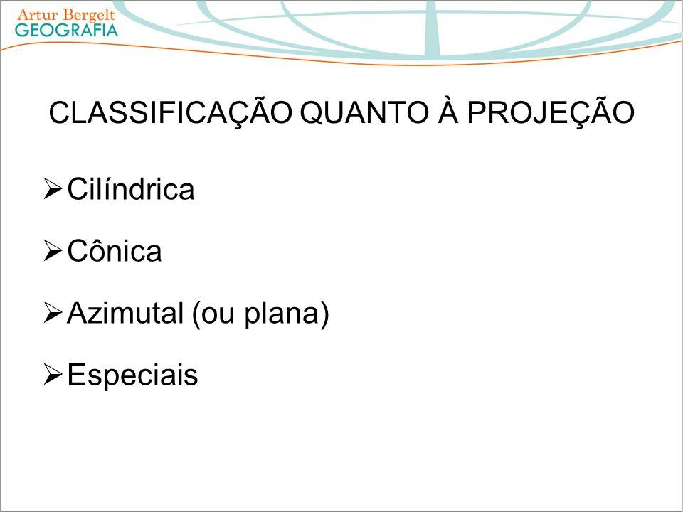 CLASSIFICAÇÃO QUANTO À PROJEÇÃO Cilíndrica Cônica Azimutal (ou plana) Especiais