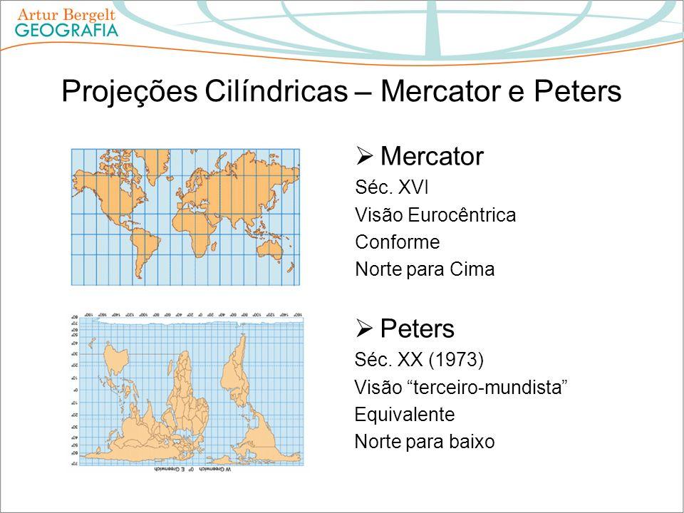 Projeções Cilíndricas – Mercator e Peters Mercator Séc. XVI Visão Eurocêntrica Conforme Norte para Cima Peters Séc. XX (1973) Visão terceiro-mundista