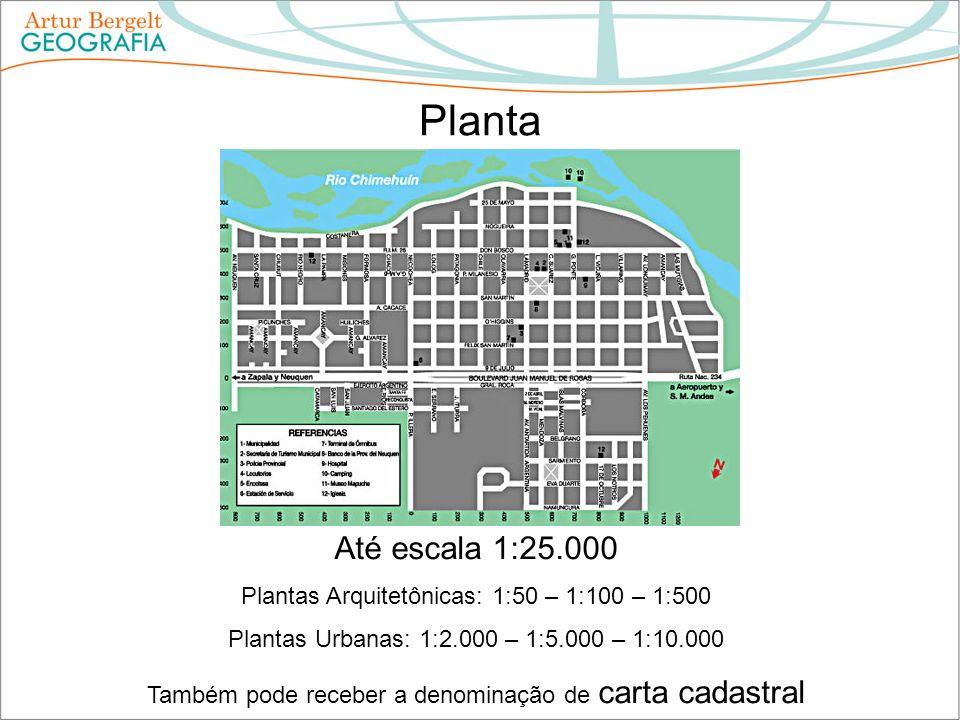 Planta Até escala 1:25.000 Plantas Arquitetônicas: 1:50 – 1:100 – 1:500 Plantas Urbanas: 1:2.000 – 1:5.000 – 1:10.000 Também pode receber a denominaçã