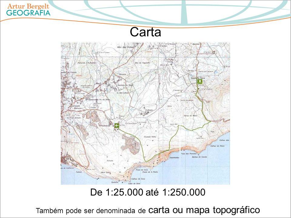 Carta De 1:25.000 até 1:250.000 Também pode ser denominada de carta ou mapa topográfico