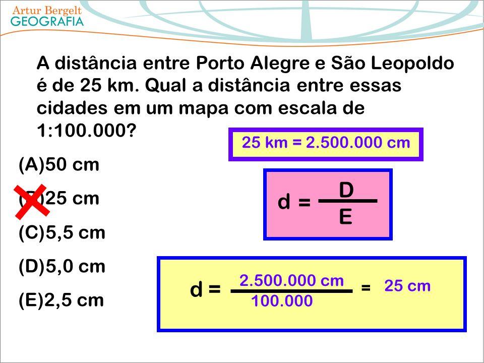 A distância entre Porto Alegre e São Leopoldo é de 25 km. Qual a distância entre essas cidades em um mapa com escala de 1:100.000? (A)50 cm (B)25 cm (