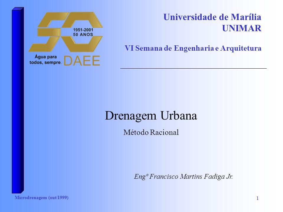 Microdrenagem (out/1999) 2 Determinação da Vazão: método racional Área < 2 km 2 Q=0,278 C I A Q: (m 3 /s) C: coeficiente de run-off I: intensidade em mm/h A: área em km 2