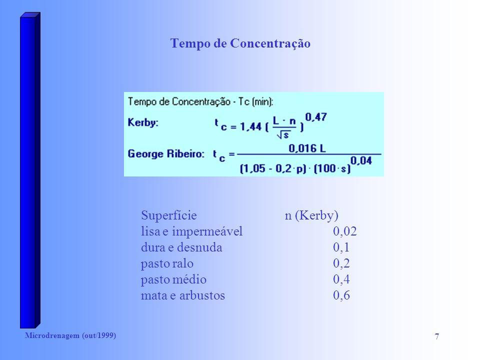 Microdrenagem (out/1999) 7 Tempo de Concentração Superfície n (Kerby) lisa e impermeável0,02 dura e desnuda0,1 pasto ralo0,2 pasto médio0,4 mata e arb