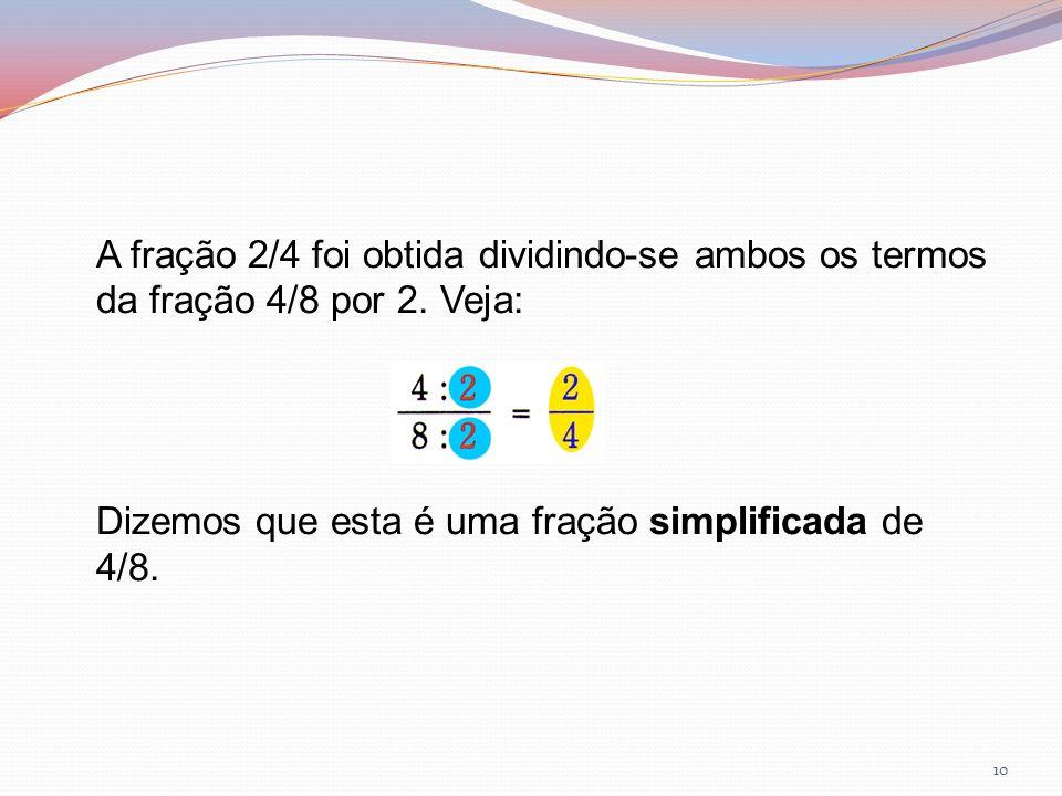 A fração 2/4 foi obtida dividindo-se ambos os termos da fração 4/8 por 2. Veja: Dizemos que esta é uma fração simplificada de 4/8. 10