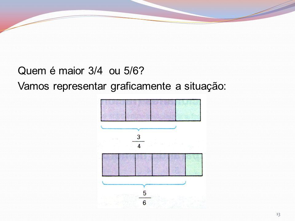 Quem é maior 3/4 ou 5/6? Vamos representar graficamente a situação: 13