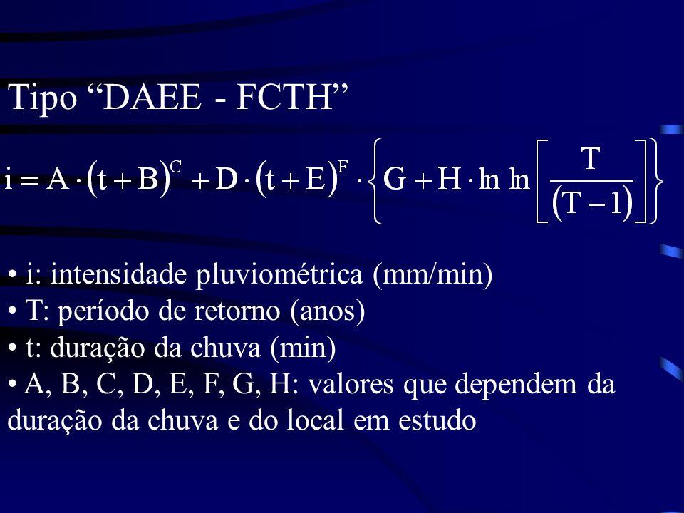 Tipo DAEE - FCTH i: intensidade pluviométrica (mm/min) T: período de retorno (anos) t: duração da chuva (min) A, B, C, D, E, F, G, H: valores que depe