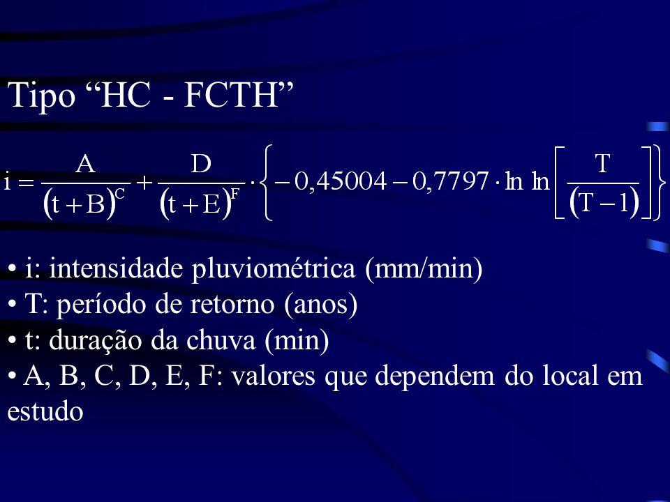 Tipo HC - FCTH i: intensidade pluviométrica (mm/min) T: período de retorno (anos) t: duração da chuva (min) A, B, C, D, E, F: valores que dependem do