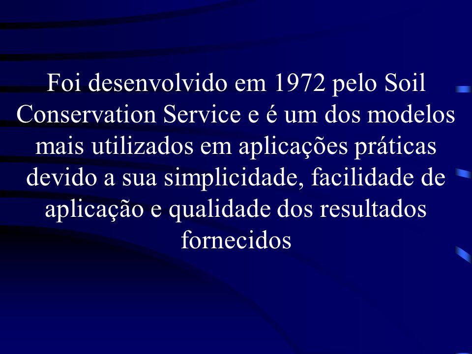 Foi desenvolvido em 1972 pelo Soil Conservation Service e é um dos modelos mais utilizados em aplicações práticas devido a sua simplicidade, facilidad