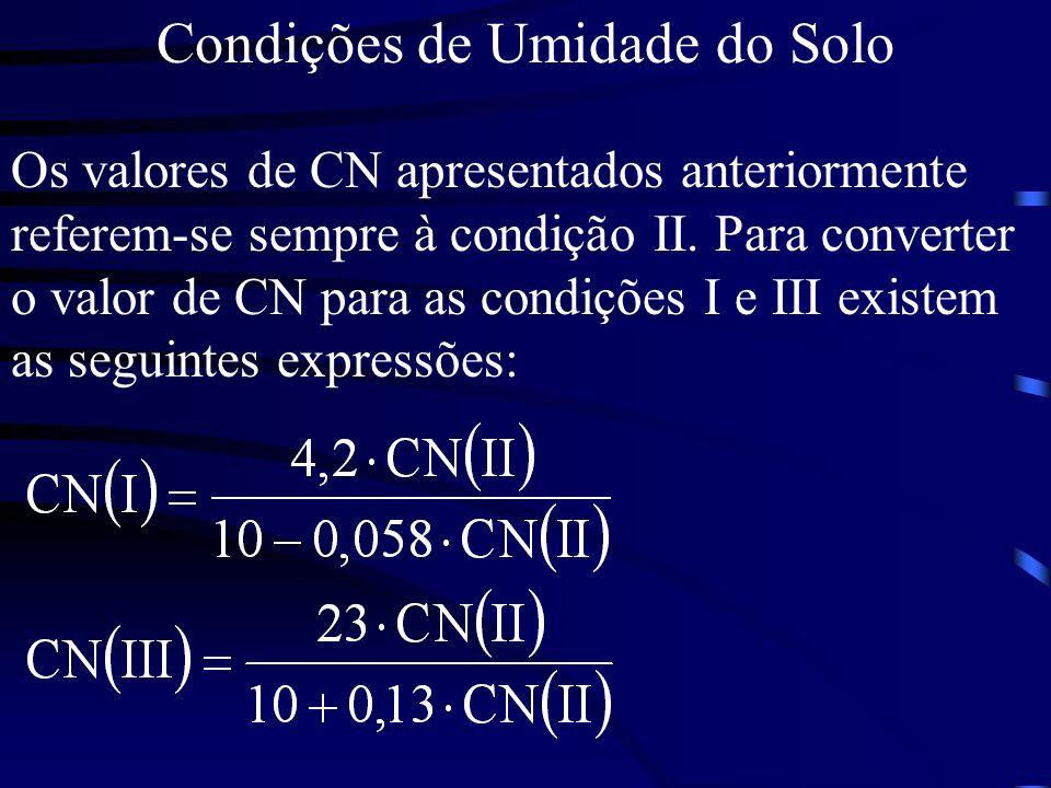 Condições de Umidade do Solo Os valores de CN apresentados anteriormente referem-se sempre à condição II. Para converter o valor de CN para as condiçõ