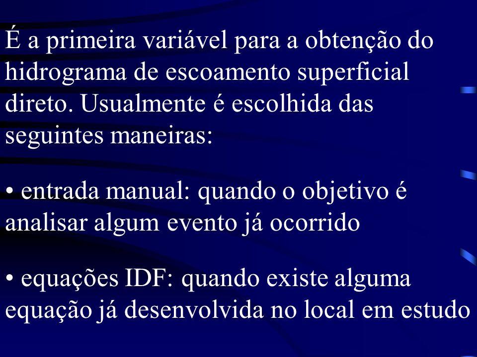 É a primeira variável para a obtenção do hidrograma de escoamento superficial direto. Usualmente é escolhida das seguintes maneiras: entrada manual: q
