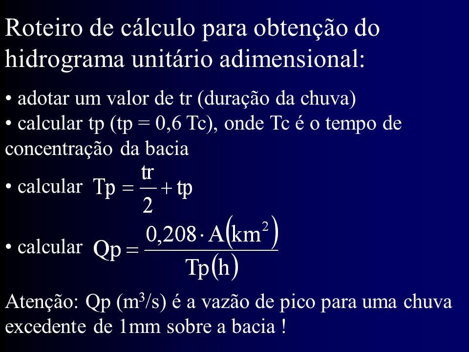 Roteiro de cálculo para obtenção do hidrograma unitário adimensional: adotar um valor de tr (duração da chuva) calcular tp (tp = 0,6 Tc), onde Tc é o tempo de concentração da bacia calcular Atenção: Qp (m 3 /s) é a vazão de pico para uma chuva excedente de 1mm sobre a bacia !