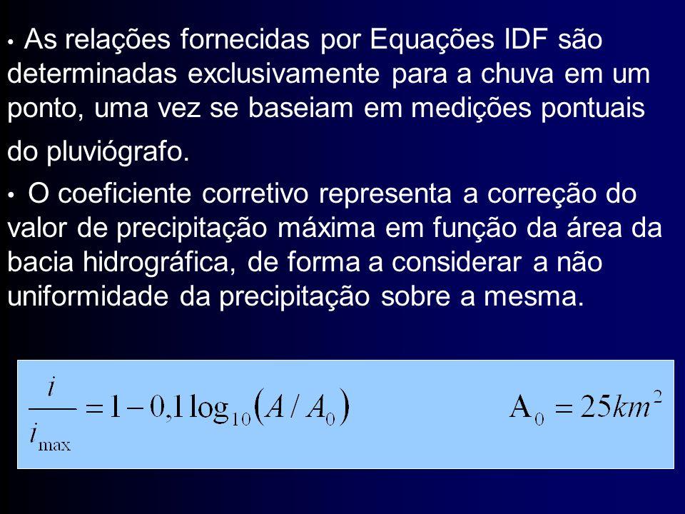 O coeficiente corretivo representa a correção do valor de precipitação máxima em função da área da bacia hidrográfica, de forma a considerar a não uni
