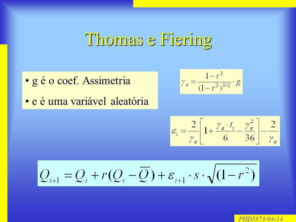 PHD5873/04-14 Thomas e Fiering g é o coef. Assimetria g é o coef. Assimetria e é uma variável aleatória e é uma variável aleatória
