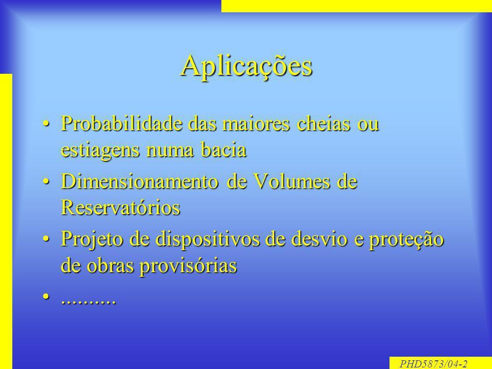 PHD5873/04-2 Aplicações Probabilidade das maiores cheias ou estiagens numa baciaProbabilidade das maiores cheias ou estiagens numa bacia Dimensionamento de Volumes de ReservatóriosDimensionamento de Volumes de Reservatórios Projeto de dispositivos de desvio e proteção de obras provisóriasProjeto de dispositivos de desvio e proteção de obras provisórias....................