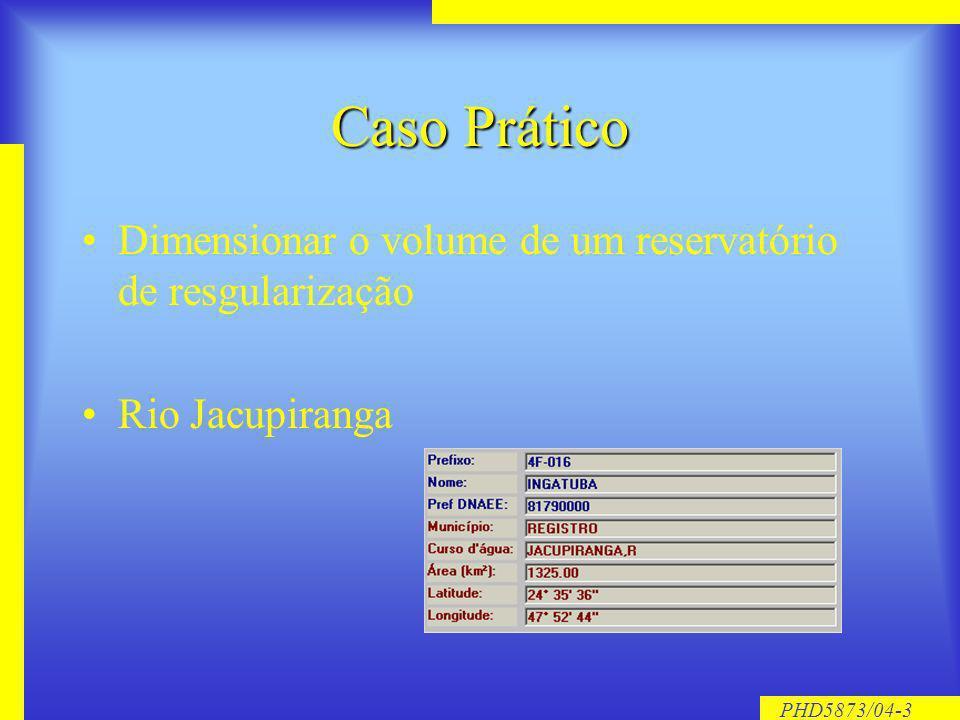 PHD5873/04-3 Caso Prático Dimensionar o volume de um reservatório de resgularização Rio Jacupiranga
