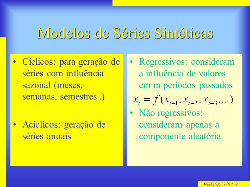 PHD5873/04-8 Modelos de Séries Sintéticas Cíclicos: para geração de séries com influência sazonal (meses, semanas, semestres..) Acíclicos: geração de séries anuais Regressivos: consideram a influência de valores em m períodos passados Não regressivos: consideram apenas a componente aleatória