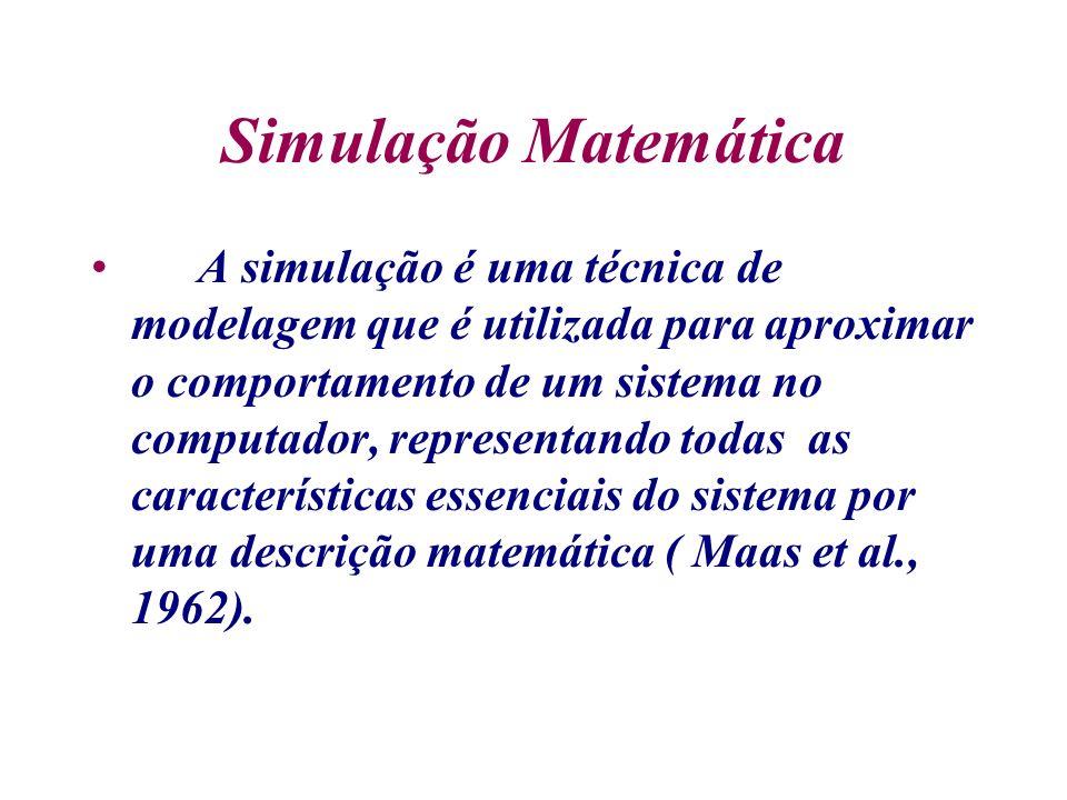 Simulação Matemática A simulação é uma técnica de modelagem que é utilizada para aproximar o comportamento de um sistema no computador, representando todas as características essenciais do sistema por uma descrição matemática ( Maas et al., 1962).