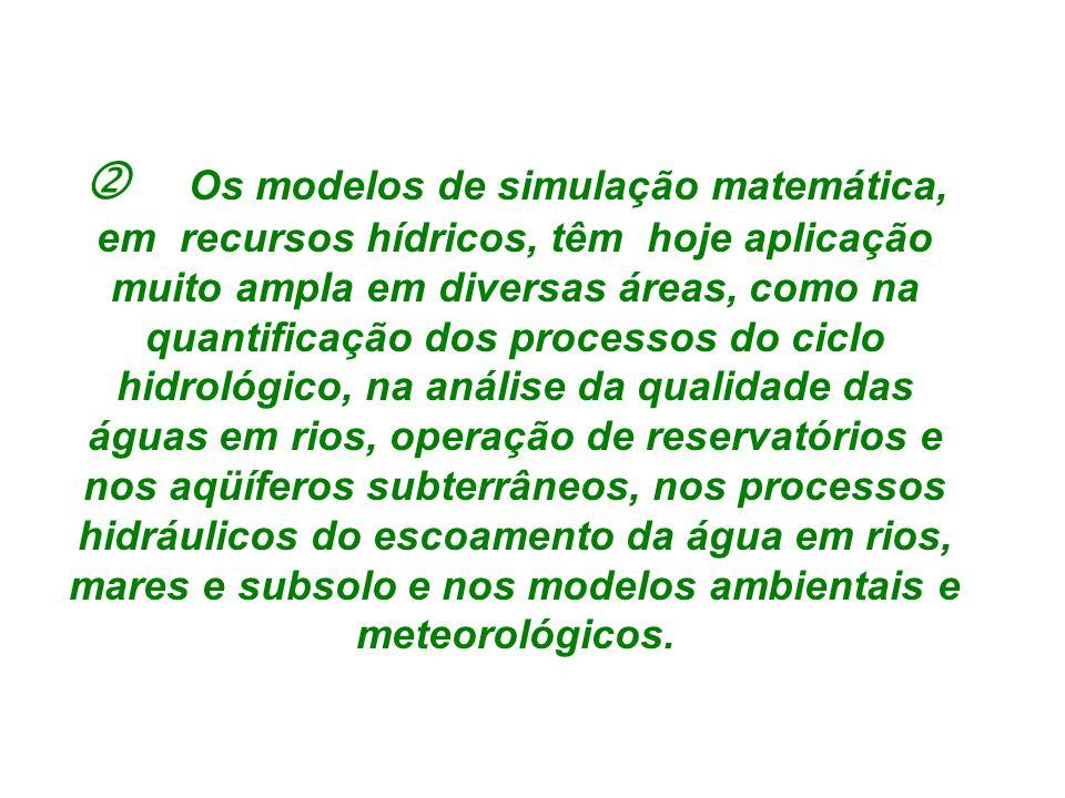 Os modelos de simulação matemática, em recursos hídricos, têm hoje aplicação muito ampla em diversas áreas, como na quantificação dos processos do ciclo hidrológico, na análise da qualidade das águas em rios, operação de reservatórios e nos aqüíferos subterrâneos, nos processos hidráulicos do escoamento da água em rios, mares e subsolo e nos modelos ambientais e meteorológicos.