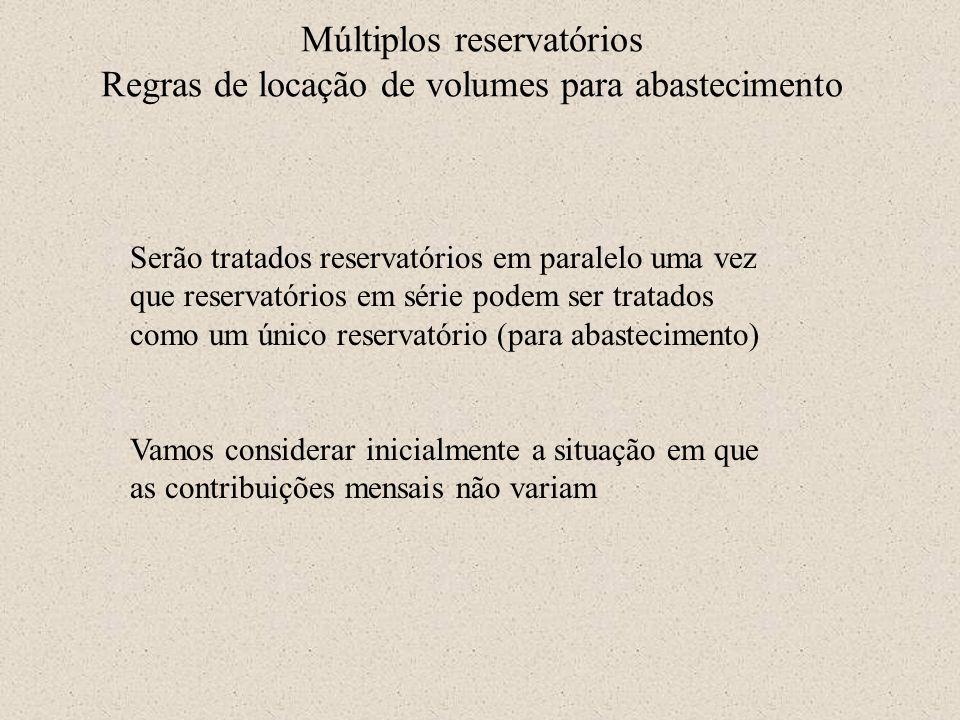 Múltiplos reservatórios Regras de locação de volumes para abastecimento Serão tratados reservatórios em paralelo uma vez que reservatórios em série po