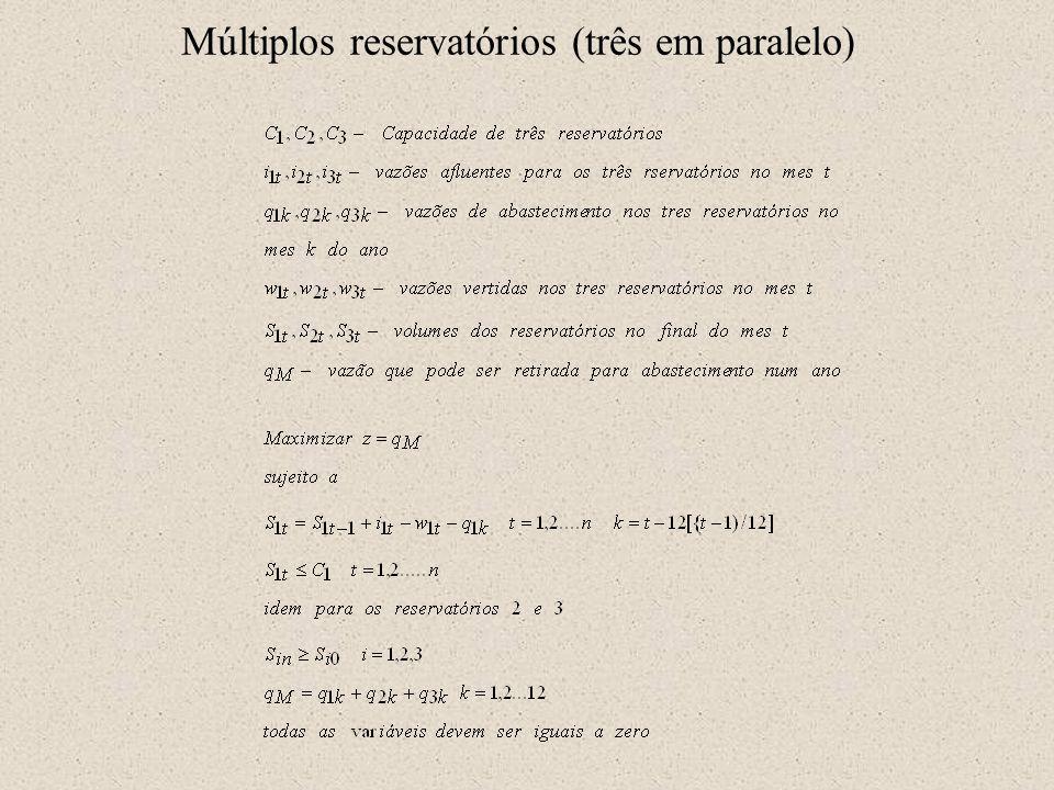Múltiplos reservatórios (três em paralelo)