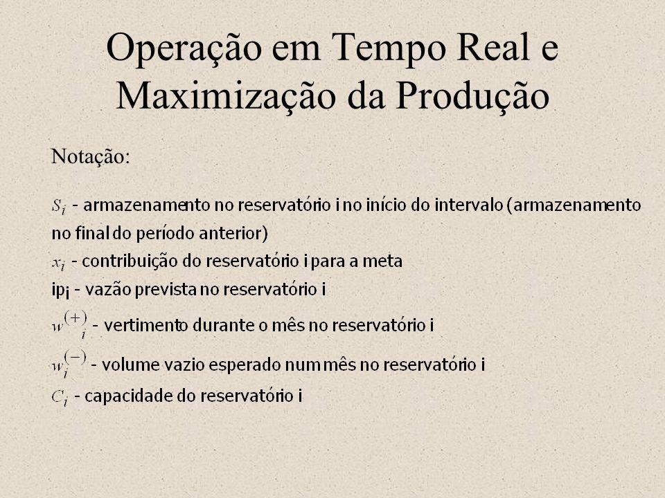 Operação em Tempo Real e Maximização da Produção Notação: