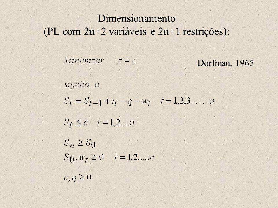 Dimensionamento (PL com 2n+2 variáveis e 2n+1 restrições): Dorfman, 1965
