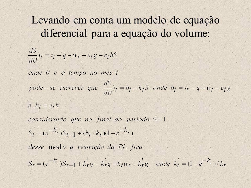 Levando em conta um modelo de equação diferencial para a equação do volume: