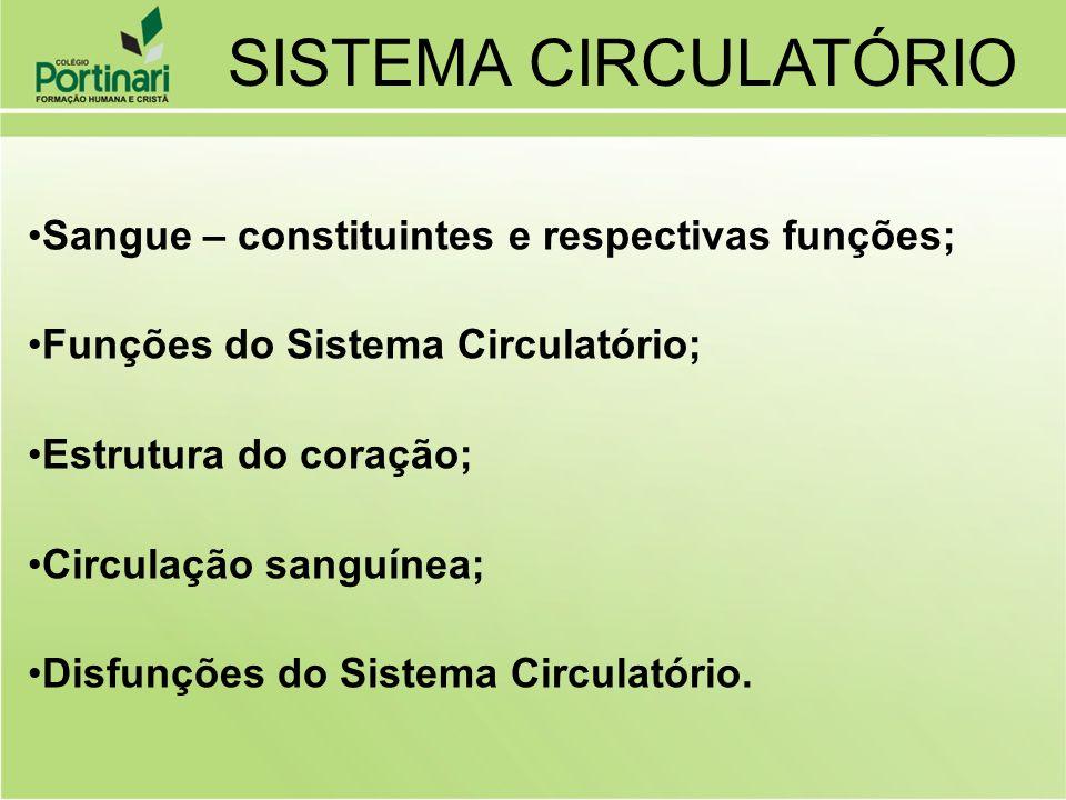 Sangue – constituintes e respectivas funções; Funções do Sistema Circulatório; Estrutura do coração; Circulação sanguínea; Disfunções do Sistema Circu