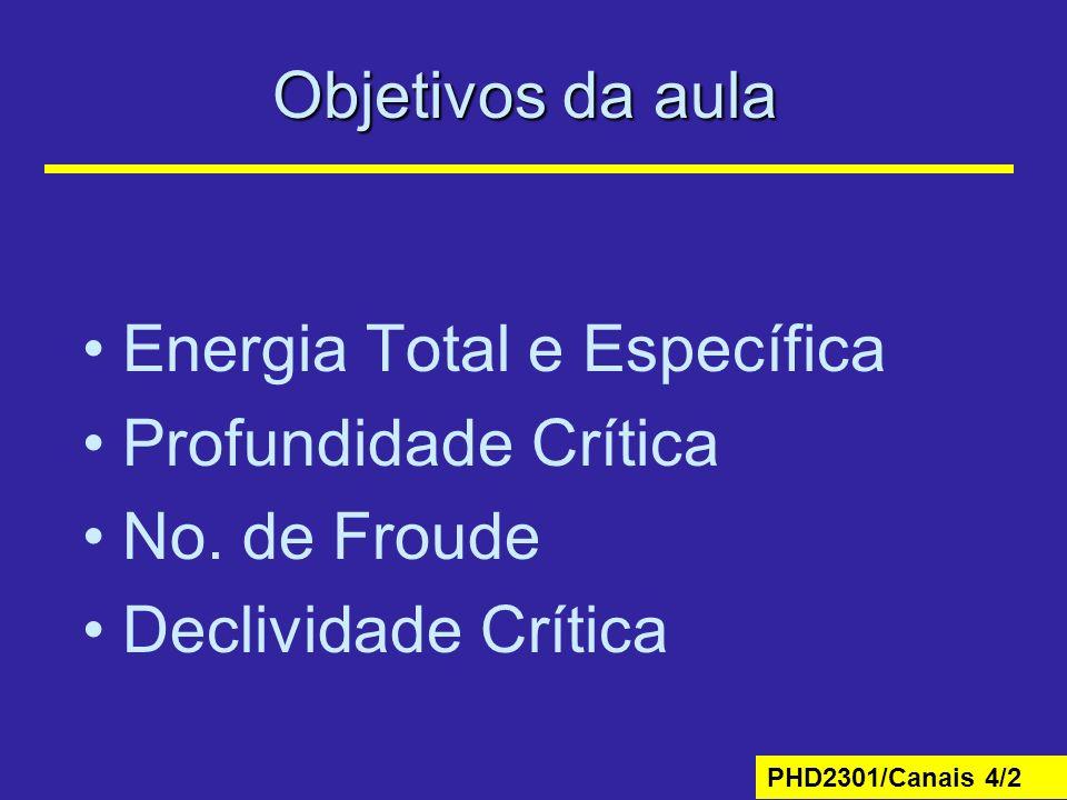 PHD2301/Canais 4/2 Objetivos da aula Energia Total e Específica Profundidade Crítica No. de Froude Declividade Crítica