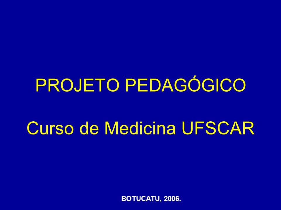 PROJETO PEDAGÓGICO Curso de Medicina UFSCAR BOTUCATU, 2006.