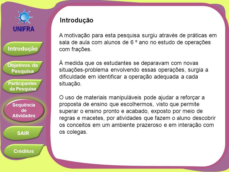 Objetivos da Pesquisa Objetivos da Pesquisa Introdução Participantes da Pesquisa Participantes da Pesquisa SAIR Sequência de Atividades Créditos Investigar o uso de materiais manipuláveis para o ensino de frações.