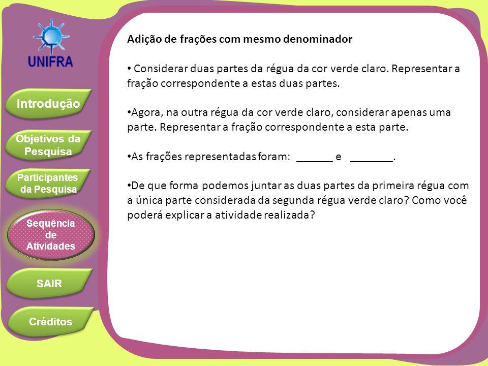 Objetivos da Pesquisa Objetivos da Pesquisa Introdução Participantes da Pesquisa Participantes da Pesquisa SAIR Sequência de Atividades Créditos Adiçã