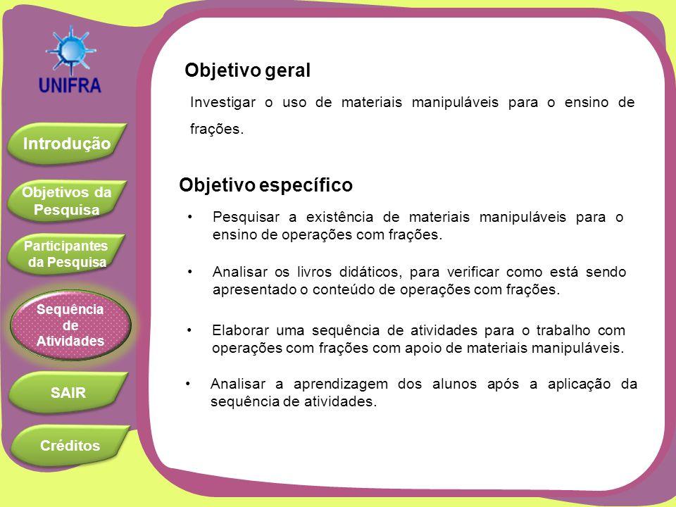 Objetivos da Pesquisa Objetivos da Pesquisa Introdução Participantes da Pesquisa Participantes da Pesquisa SAIR Sequência de Atividades Créditos SEQUÊNCIA DE ATIVIDADES III - A : frações equivalentes Objetivos: Provocar a curiosidade.