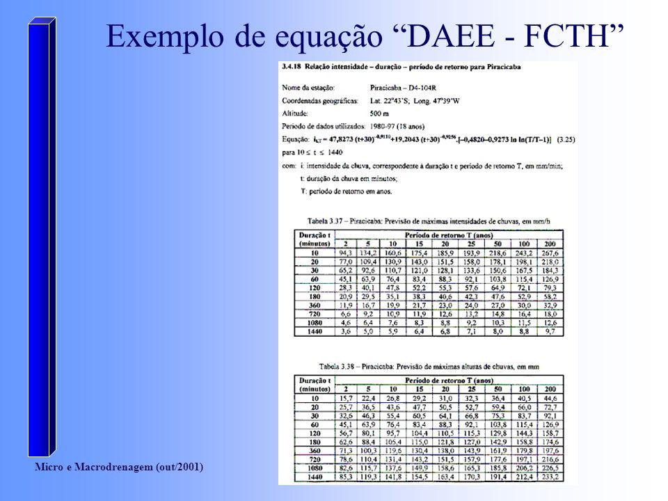 Micro e Macrodrenagem (out/2001) Resultados da equação DAEE - FCTH