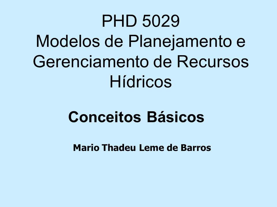 PHD 5029 Modelos de Planejamento e Gerenciamento de Recursos Hídricos Conceitos Básicos Mario Thadeu Leme de Barros
