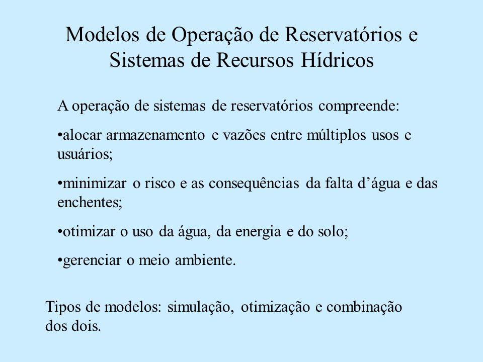 Modelos de Operação de Reservatórios e Sistemas de Recursos Hídricos A operação de sistemas de reservatórios compreende: alocar armazenamento e vazões