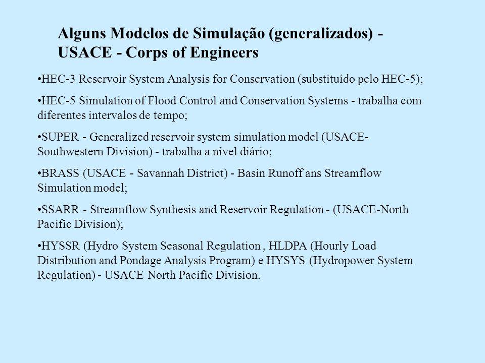 Alguns Modelos de Simulação (generalizados) - USACE - Corps of Engineers HEC-3 Reservoir System Analysis for Conservation (substituído pelo HEC-5); HE