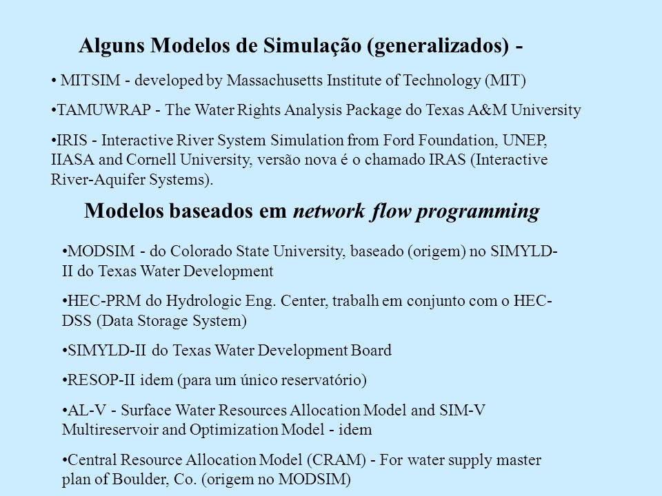 Alguns Modelos de Simulação (generalizados) - MITSIM - developed by Massachusetts Institute of Technology (MIT) TAMUWRAP - The Water Rights Analysis P