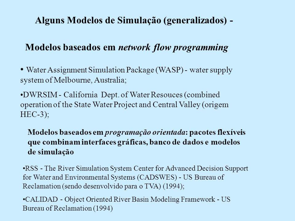 Alguns Modelos de Simulação (generalizados) - Modelos baseados em network flow programming Water Assignment Simulation Package (WASP) - water supply s
