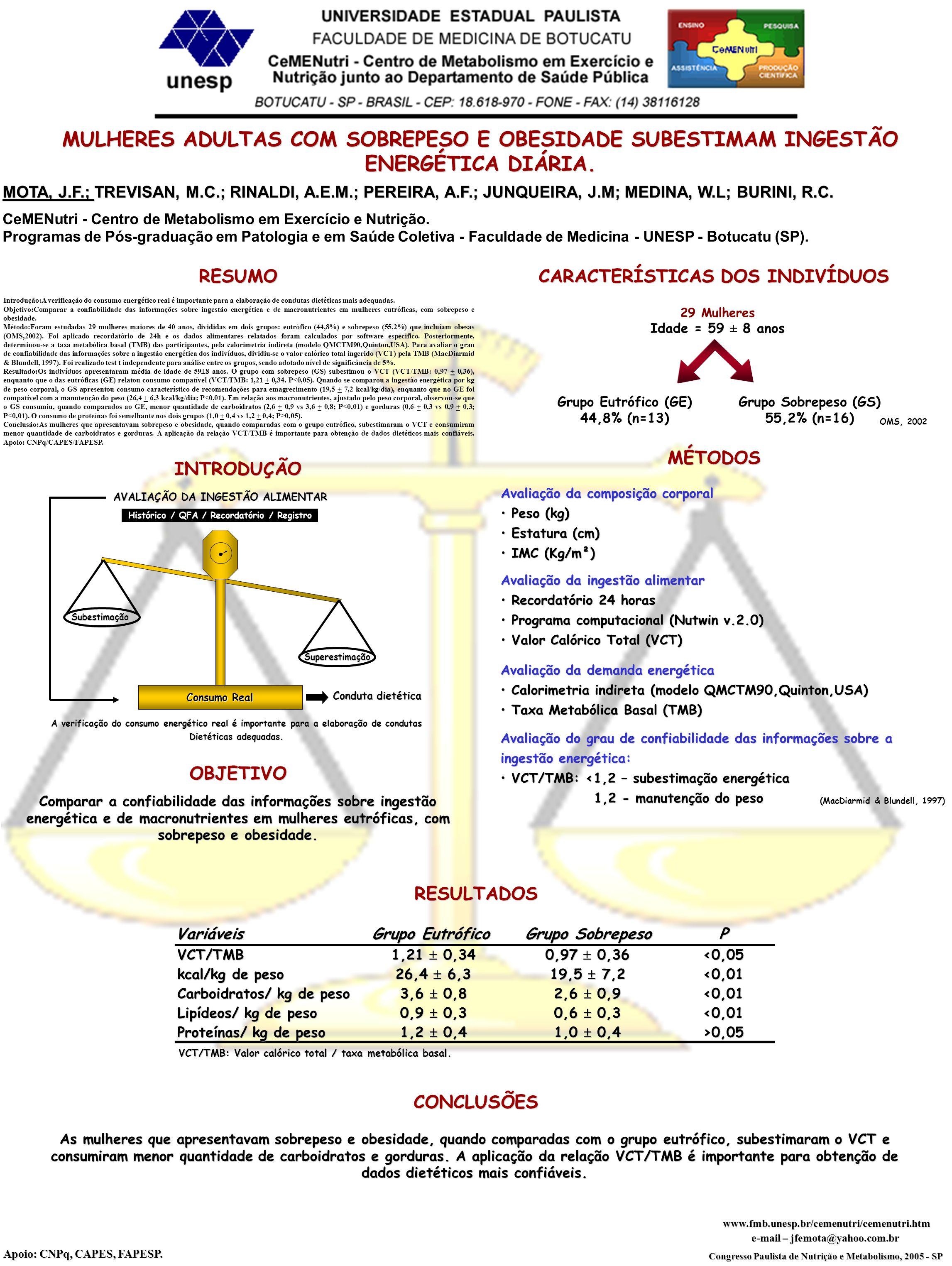 CeMENutri - Centro de Metabolismo em Exercício e Nutrição. Programas de Pós-graduação em Patologia e em Saúde Coletiva - Faculdade de Medicina - UNESP